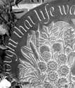 Greyscale Picture of Engraved Slate